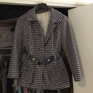 Jackets & Blazers - Vintage Blue and White Wool Coat with Belt